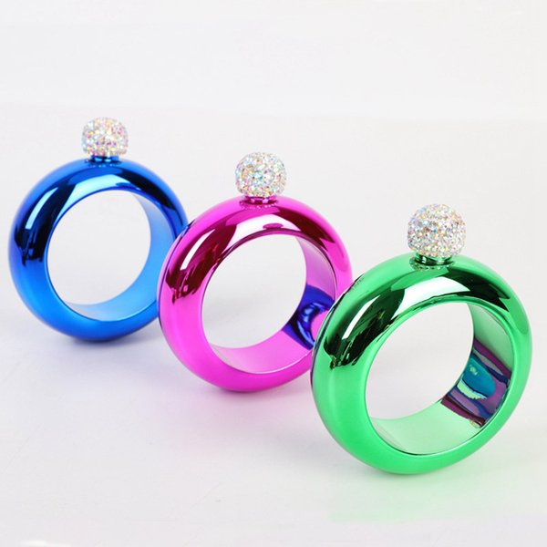 100 ml Bracelet en acier inoxydable Flasque 304 extérieur en acier inoxydable portable hanche avec diamant couvercle Flasques Cadeaux HHA771