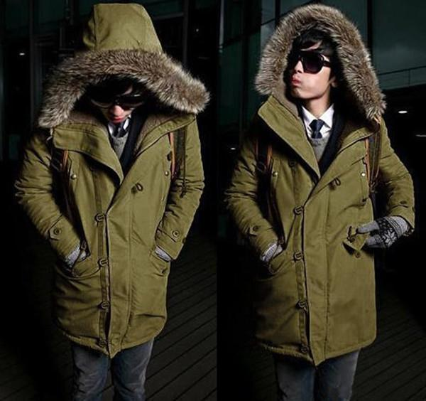 2017 Winter Warm Thicken Mens Faux Fur Collar Coat Hooded Comfortable Solid Color Casual Long Overcoat For Male