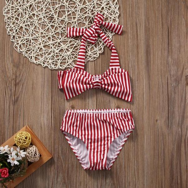 Maillots de bain été filles filles enfants bébé filles mignonne belle jolie rayé maillot de bain maillot de bain bowknot maillots de bain