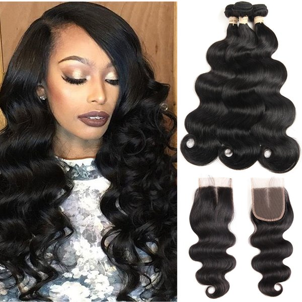 8A Mink Brazilian Body Wave Straight Kinky Curly Water Wave Deep Wave Hair With Lace Closure Malaysian Peruvian Brazilian Hair Weave Bundles