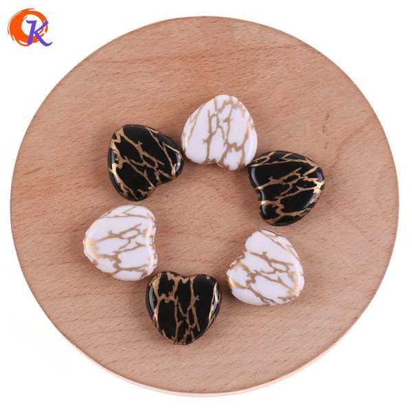 wholesale 19*19mm 100Pcs Acrylic Beads/Jewelry Accessories/Heart Shape/Gold Lightning Print Bead/Hand Made/Earring Findings
