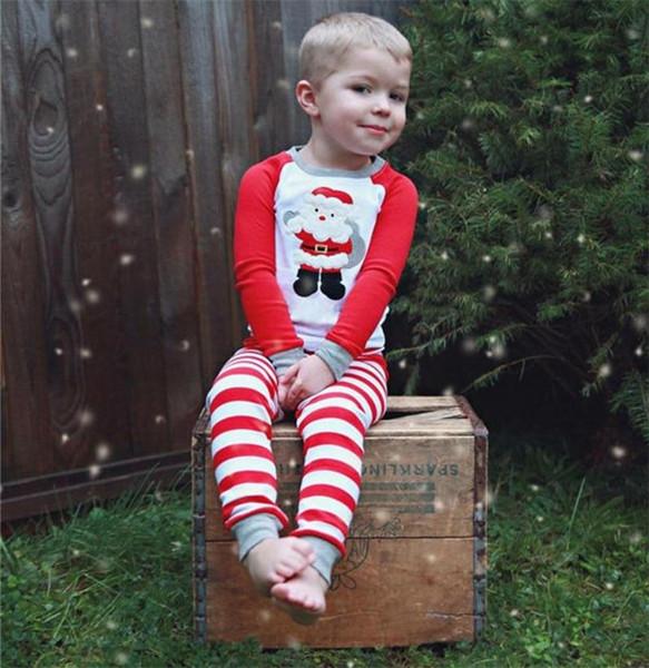 baby boys girls christmas santa claus long sleeve tops+striped pants 2pcs set children XMAS outfit clothing set