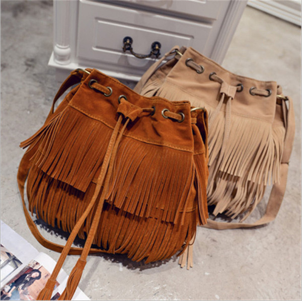 6551ce9d8 2019 Fashion Tassel Bucket Bags for Women Large Capacity Single Shoulder  Bags PU Leather Ladies Crossbody