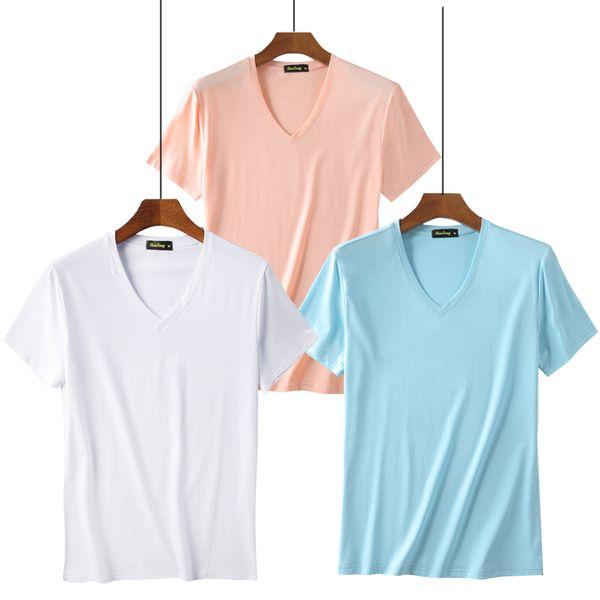 Camisa de t dos homens Moda 2019 Roupas Men Undershirt Manga Curta Camiseta Suave Modal Dos Homens De Malha Roupa Interior homm
