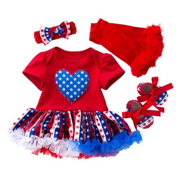 2019 Independence day Baby Girl Clothes 4pcs Sets Cotton Rompers Tutu Dress+Headband+Shoes+Leg warmer Baby Shower Gifts
