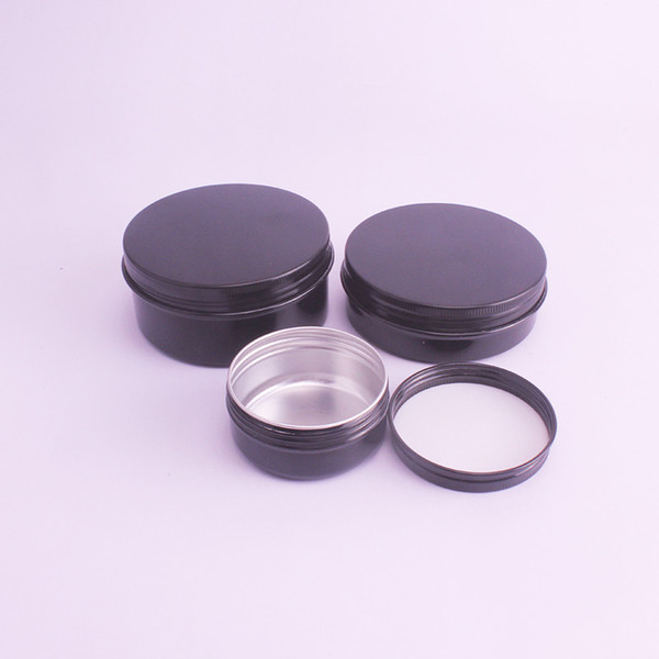 150pcs Black 50g 60g Aluminum Cream Jar Tea Leaf Pot Nail Art Makeup Lipgloss Skin Care Lotion Empty Cosmetic Metal Tins Container