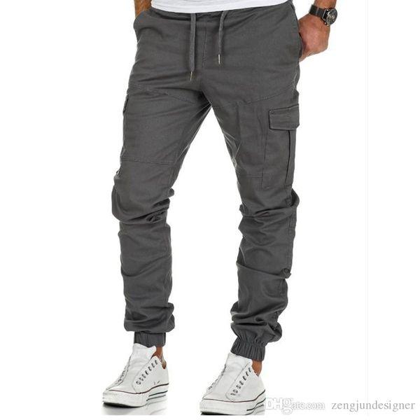 Mens designer de mode poche pantalon cargo jogger couleur unie homme régulier cordon vêtements hip hop vêtements décontractés