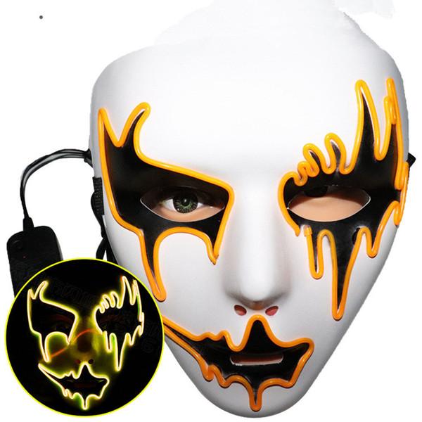 Halloween Glow Mask Flash LED Ужас Маскарадная Маска Горячие Продажи Хэллоуин Косплей Фестиваль Моды Костюм Аксессуар