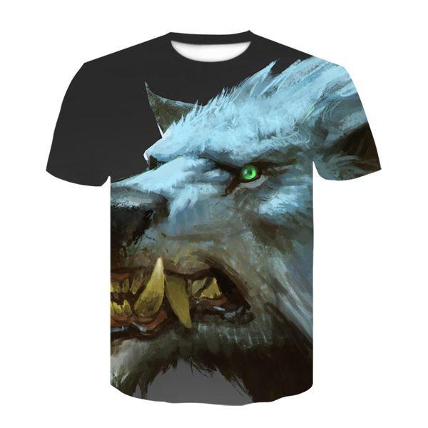 2019 new animal 3D printing round collar T-shirt for men and women short sleeve summer shirt T-shirt