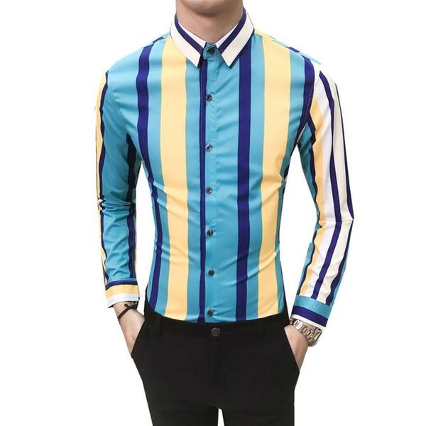 Men Slim Fit Long Sleeve Shirt Stripe Casual Business Shirt Tops Dj Party Night Club Wedding Men Clothes