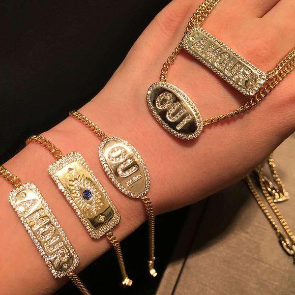 Yeni Yaz Moda Kadınlar Bilezik Sarı Altın Kaplama CZ Mektuplar Bilezikler Kolye Gilrs Kadınlar için Parti Düğün için Arkadaşlar için Sıcak Hediye