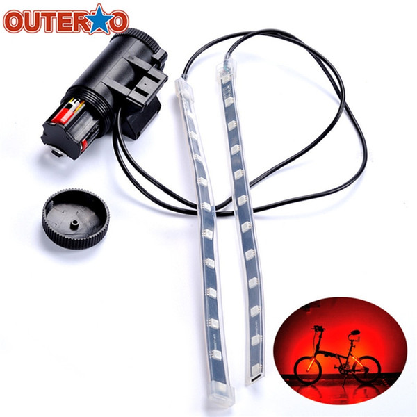 OUTERDO MTB Mountain Bicycle Fork Strip Light Bar 12 LED 8 Modes Waterproof Wheel Lamp Bicicleta Frame Front Rear Night Lights #704941