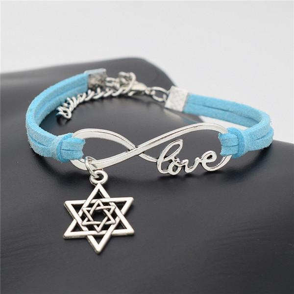 Chaud Mignon Romantique Coréen Armure Charme Bracelet Vintage Infinity Amour Étoile De David Bijoux Bleu En Cuir Daim Wrap Bracelets Pour Femmes Hommes Cadeau