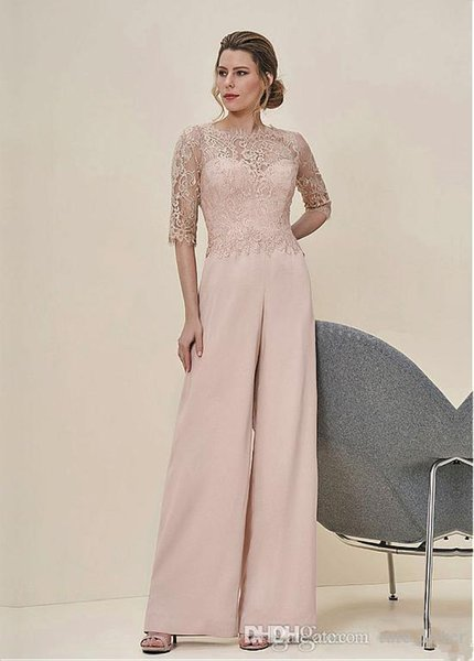 New Arrival 2019 Jumpsuits Lace Half Sleeves Wedding Guest Dress Zipper Back Long Mother Of The Bride Pant Suits