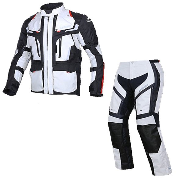 LYSCHY Motorcycle Protection Jacket Trousers Men Waterproof Winter Jackets Sets Detachable Protective Gear 5 PCS CE Pads S 5XL