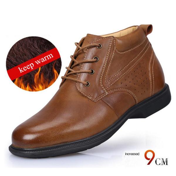 calidad estable Venta barata muchos de moda Compre Nuevo Cómodo Mantenga Los Zapatos Cálidos Altura De Cuero Aumento De  9 CM De Altura Superior Ascensor Invierno Zapatos De Nieve Para Hombres ...