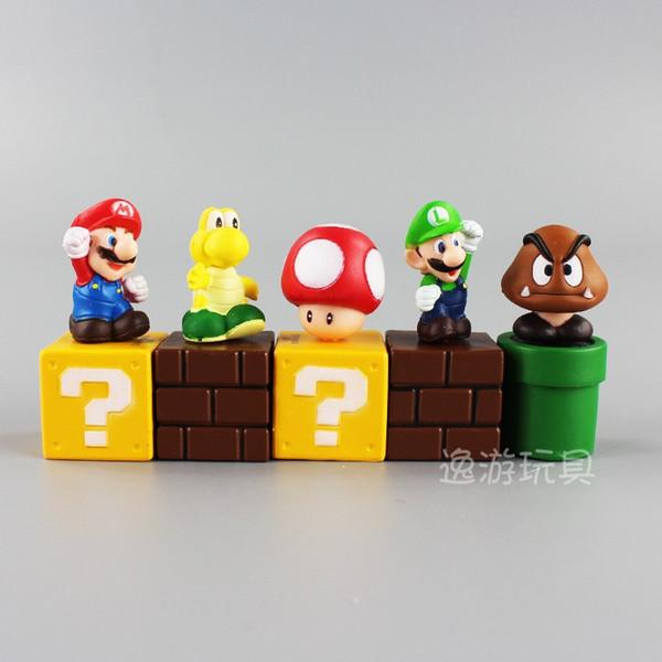 5pcs / set Super Mario Bros Bundle Blocs Chiffres Mario Goomba Luigi Koopa Troopa et Champignon Mini Chiffres Jouets