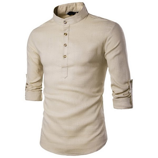 Laamei 2018 Men Casual Shirt Cotton Linen Blended Mandarin Collar Breathable Comfy Traditional Chinese Style Long Sleeve Shirts