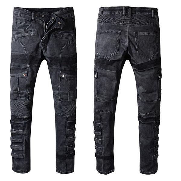 Homens de Moda Jeans # 609 Streetwear Distressed Denim rasgado Calças Hip Hop Calças motociclista masculino magros Buracos Vintage Cotton Jeans