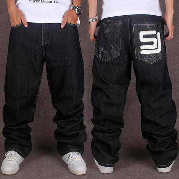 Toptan Jeans Mens Baghee Hip Hop Streetwear Denim Jeans Erkekler Gevşek İçin Sokak Dans Ve Skatebord Aplikler Artı boyutu 40 44 46