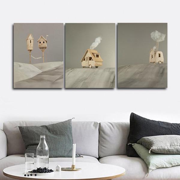 Cartoon-Pferd Wandbilder Plakat-Druck Leinwand-Malerei Kalligraphie Dekoratives für Wohnzimmer Schlafzimmer Wohnkultur Frameless
