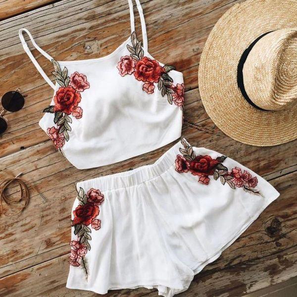 jogging suits womens designer tracksuits 2pcs casual women summer clothes set embroidered floral vest shorts pants lady clothing sets