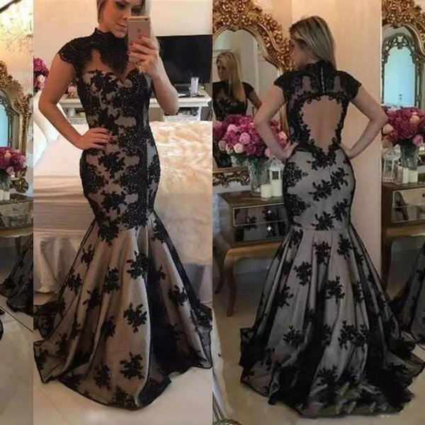 2019 Honorable High Neck Evening Dresses Short Sleeve Mermaid Appliques Pattern Backless Zipper Sweep Train Sexy Party Prom Dresses
