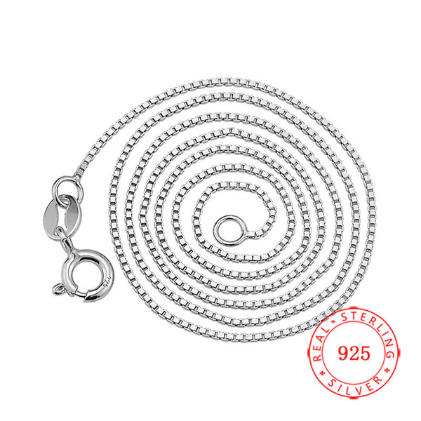 Classic Chain 100% 925 Sterling Silver 0.8 mm Box Chain Fashion Jewelry 40 / 45 cm rhodium plated Necklace For Women Free Shipping