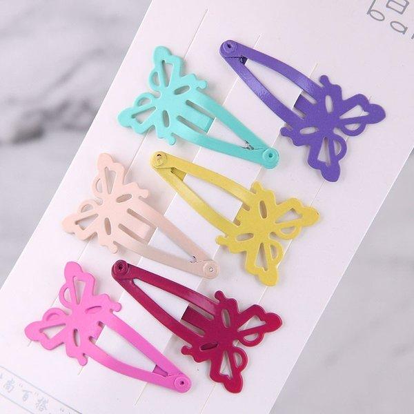 6pcs Carino Candy Colore Baby Clip di capelli Farfalla Forcine per ragazze Bambini Metallo verniciato Barrettes Hairpin Headwear