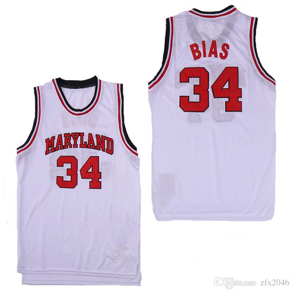 NCAA Men's 34 Leonard Bias Maryland Terrapins College Basketball jersey White Red Yellow embroidered Stitched logos Len Horse