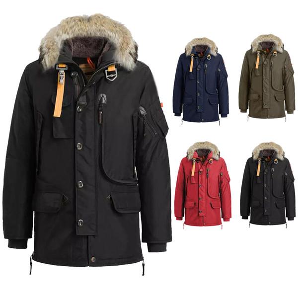 2019 de lujo de invierno hombres de la calidad de Down Parkas Hombres Mano derecha Kodiak Negro mancha roja de Down Parka chaqueta de la capa de la chaqueta Jaqueta Puffer J2