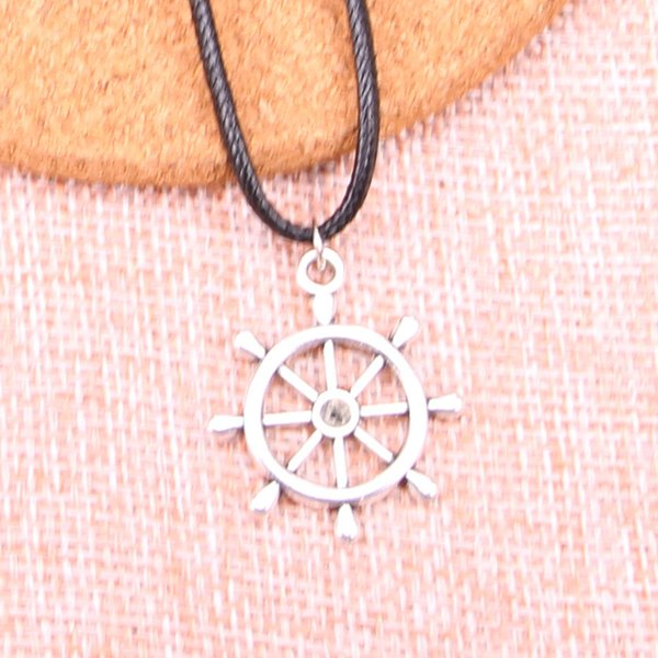 New Durable Black Faux Leather Antique Silver 28*24mm ship's wheel helm rudder Pendant Leather Chain Necklace Vintage Jewelry Dropshipping