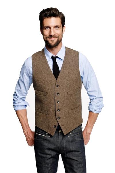 2019 Custom Made Farm Casamento Vintage Brown Tweed Coletes Noivo Colete Mens Slim Fit Feito Sob Medida Coletes De Casamento Para Homens (Colete)