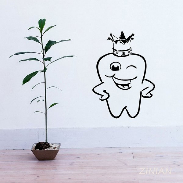 Tooth Crown Wall Stickers Stomatology Dentistry Logo Decals Home Decor Bathroom Kids Room Vinyl Decal for Dental Clinic