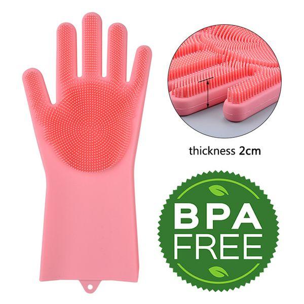 Kitchen Silicone Cleaning Gloves 2pcs/pair Magic Washing Brush Household Scrubber Anti Scald Dishwashing Gloves Cleaning Tools