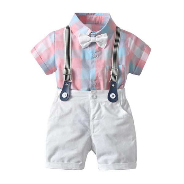 Çocuklar Erkek Bebek Giyim Beyefendi Düğün Parti Resmi Smokin Ekose Papyon Romper Strappy Teklifler Şort 2 Adet Boy Setleri 6 M-4Y