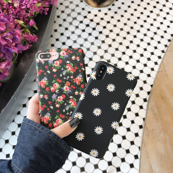 Daisy And Rose Floral Frosted Hard Shell Smart Anti-fall Cell Phone Case for Ladies for IPHONE 6 7 8PLUS X XS XR XSMAX