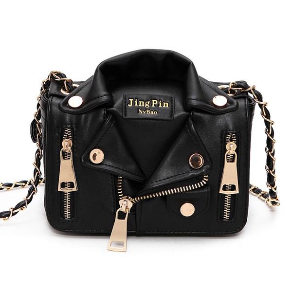 Women Leather Handbags Motorcycle Jacket Shoulder Bag Fashion Lady Punk Crossbody Bags Casual Chain Bags Purse Satchel