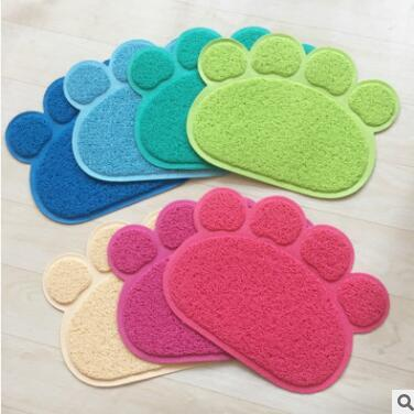 Pet Dish Bowl Food Water Feed Cute Paw Pet Dog Cat Feeding Mat Pad Placemat Puppy Bed Blanket Table Mat Easy Wipe Cleaning p