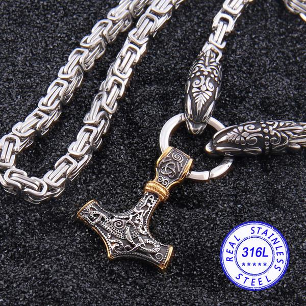El acero inoxidable 316L nunca se descolora. Cabeza de lobo vikingo. Collar de cadena de bambú con martillo colgante de oro de Thor.