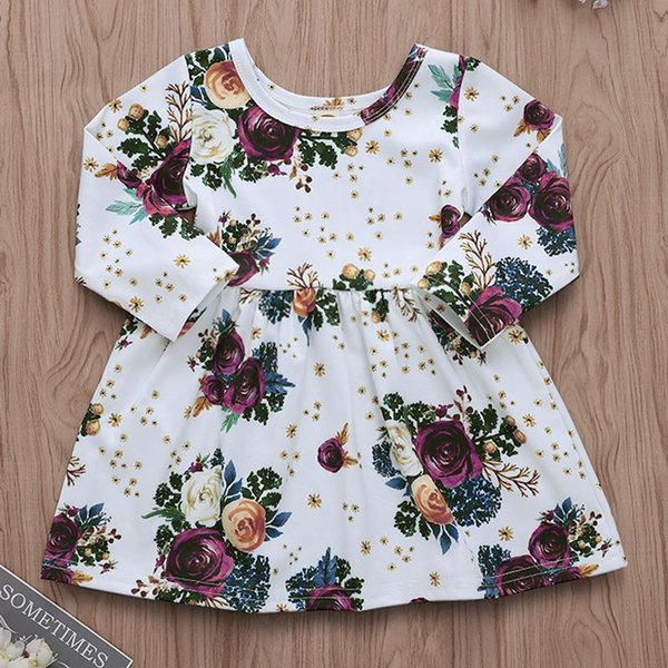 Niño pequeño bebé niña primavera otoño flor color de rosa manga larga tutu princesa vestidos pegeant dress prom 6M-5T