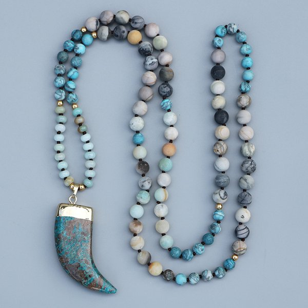 Edothalia Blue Ocean Stone Pendant Necklace Women 108 Beads Picasso & Amazon, Magic Blue Stone Yoga Mala Necklace J190610