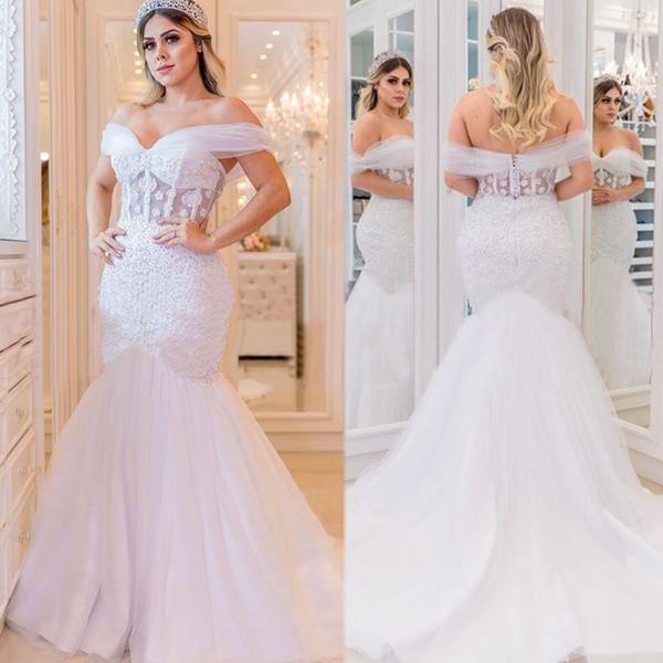 top popular 2020 African Illusion Wedding Dresses Beaded Mermaid Bridal Gown Plus Size Sexy Bride Trumplet Backless robes de mariée Saudi Arabia 2020