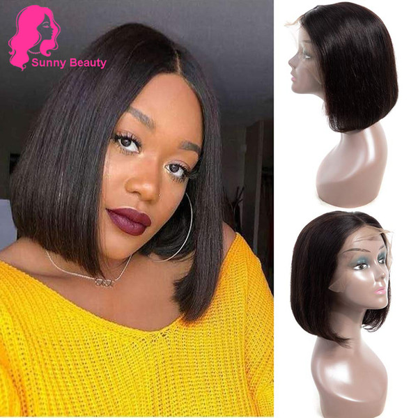 Sunny Beauty Peruvian Straight Short Bob Wig Human Hair Middle Part Virgin Human Hair Wigs 150% Density Lace Front Wig Pre Plucked Queens