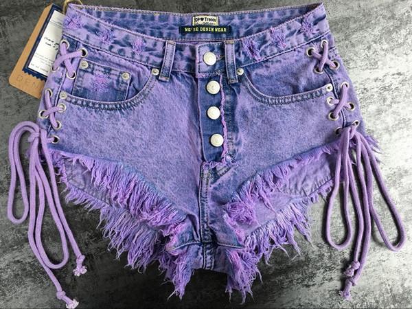 женская летняя пряжка с высокой талией носить двойные боковые ремни дамы макароны фиолетовый джинсовые шорты горячие брюки