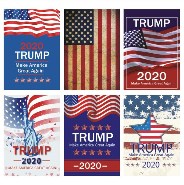 best selling Trump Garden Flags 30 x 45cm Outdoor Decorate USA President General Election Banner 2020 Trump Flag Pennant Banner HHA382