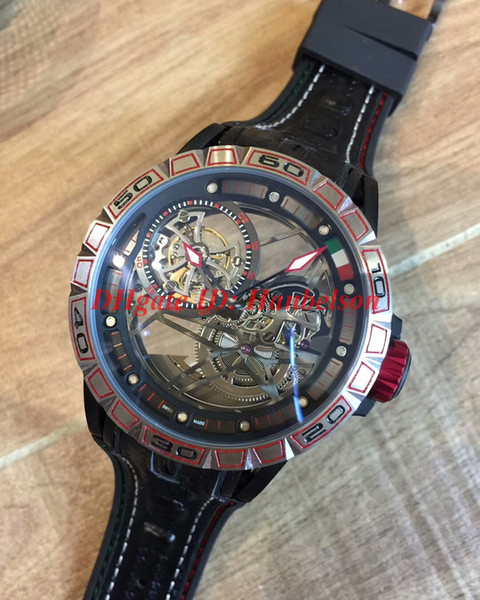 New excalibur rddbex0622 pider italde ign edition tourbillon men watch mechanical automatic movement teel ca e black rubber trap montre