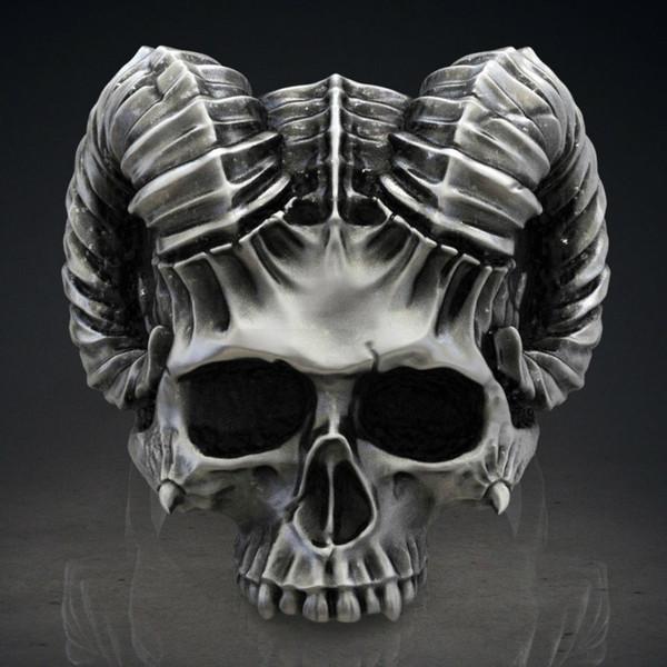 Anneau gothique 316L en acier inoxydable Capricorne mouton tête diable pour les hommes Punk Skull bijoux fantôme chevalier bijoux pour hommes