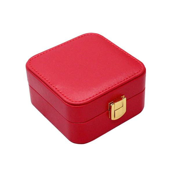 1 Pc Portable Faux En Cuir Boîte à Bijoux Organisateur Anneau Cas Vitrine pour Boucles D'oreilles Anneaux Collier