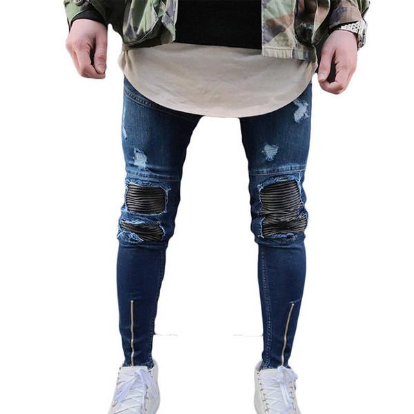Wholesale 2018 Fashion Casual Knee patch pleated Motorcycle hip hop dance street Biker jeans men leg zipper show thin Pants